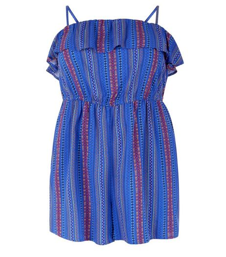 Curves Blue Stripe Frill Bandeau Playsuit | New Look