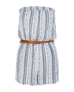Teens Blue Aztec Stripe Print Bandeau Belted Playsuit | New Look