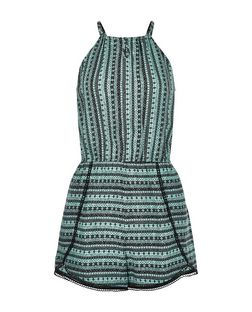 Teens Green Stripe Aztec Print Playsuit | New Look