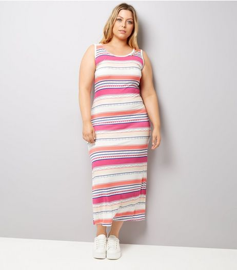 Curves Pink Stripe Maxi Dress | New Look