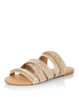 Gold Embellished Multi Strap Sandals  | New Look