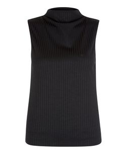 Black Ribbed Funnel Neck Sleeveless Top  | New Look
