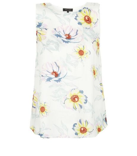 White Floral Print Cut Out Back Sleeveless Top  | New Look