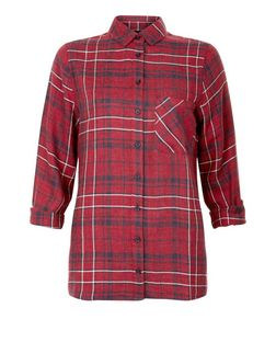 Red Check Single Pocket Roll Sleeve Shirt  | New Look