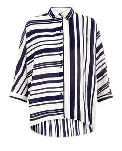Cameo Rose Blue Mix Stripe Shirt  | New Look