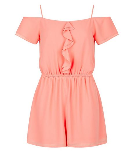 Teens Coral Frill Playsuit | New Look