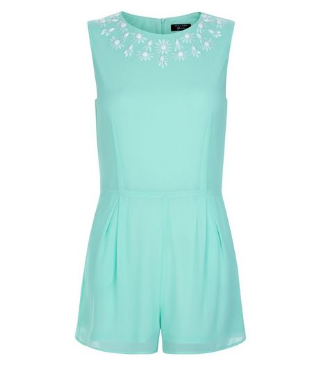 Teens Mint Green Floral Neckline Playsuit | New Look