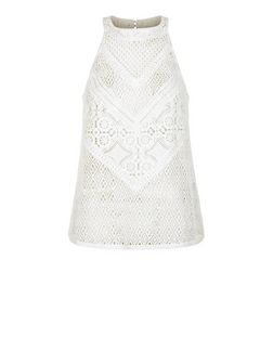 Cream Crochet Lace High Neck Vest  | New Look