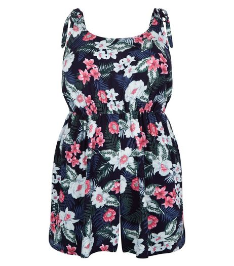 Curves Floral Print Tie Strap Playsuit | New Look