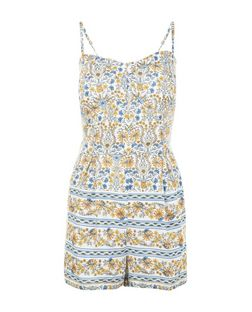 White Floral Stripe Strappy Playsuit  | New Look