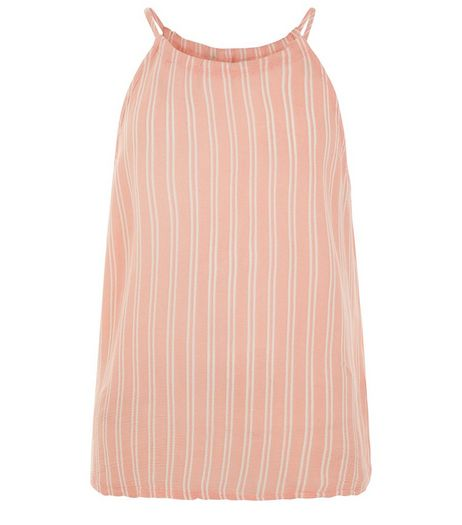 Teens Coral Stripe High Neck Top | New Look