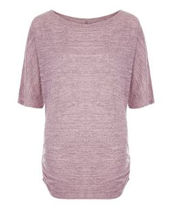 Cameo Rose Mid Pink Fine Knit Ruched Side Top | New Look