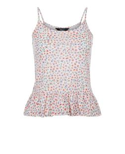 Teens White Floral Print Peplum Cami | New Look