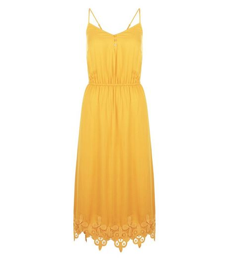Yellow Crochet Trim Midi Dress | New Look