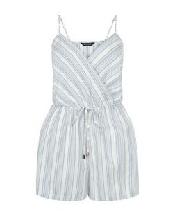 Blue Stripe Wrap Front Tie Waist Playsuit  | New Look