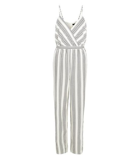 White Stripe Tie Waist Wide Leg Jumpsuit  | New Look