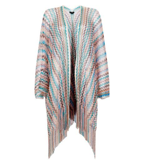 Multicoloured Zig Zag Textured Tassel Hem Kimono  | New Look
