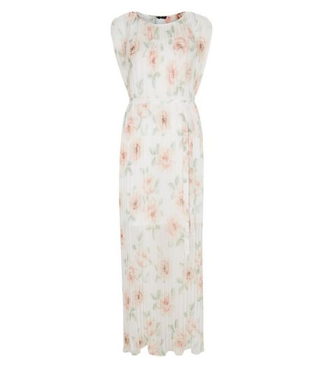 Cream Chiffon Floral Print Pleated Maxi Dress | New Look