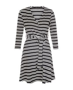 Black Stripe Wrap Front 3/4 Sleeve Dress  | New Look