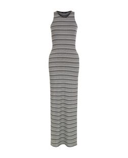 Monochrome Stripe Split Side Maxi Dress  | New Look
