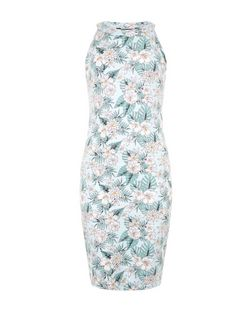 Teens Pale Blue Tropical Print High Neck Dress | New Look