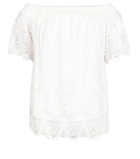 Cream Embroidered Mesh Bardot Neck Top  | New Look