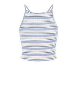 Petite Blue Stripe Ribbed Crop Top | New Look