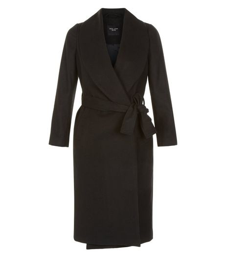Petite Black Belted Wrap Front Longline Coat | New Look