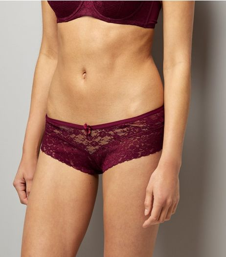 Burgundy Lace Leg Brazilian Briefs | New Look