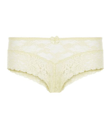 Yellow Lace Brazilian Briefs | New Look