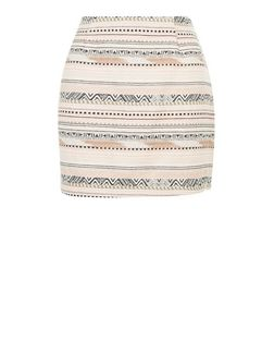 Petite White Aztec Stripe Print Jacquard A-Line Skirt | New Look
