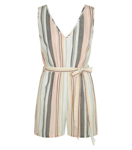 Multicoloured Stripe Belted V Neck Playsuit | New Look