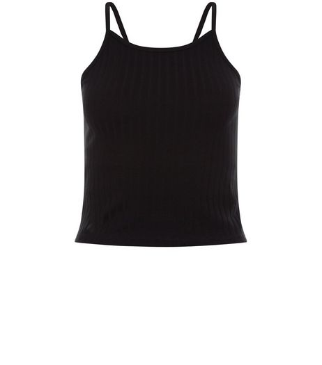 Petite Black Ribbed Strappy Crop Top  | New Look