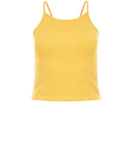 Petite Yellow Ribbed Strappy Crop Top | New Look