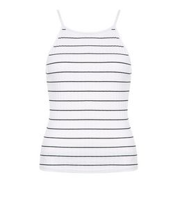 Tall White Stripe Ribbed Top | New Look