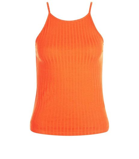 Tall Orange Ribbed Sleeveless Top | New Look