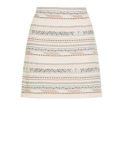 Tall White Stripe Aztec Print Jacquard Skirt | New Look