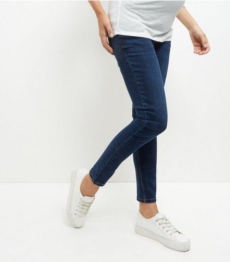 Maternity Navy Over Bump Authentic Skinny Jeans | New Look
