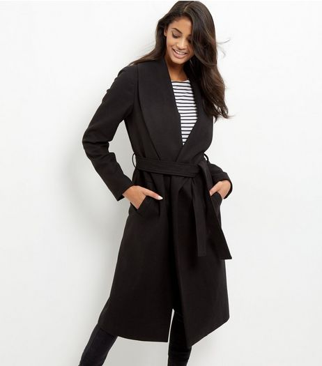 Tall Black Belted Longline Coat | New Look
