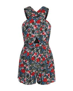 Green Floral Print Wrap Front Playsuit  | New Look