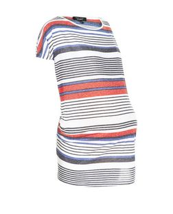 Maternity Pink Stripe Short Sleeve Top | New Look
