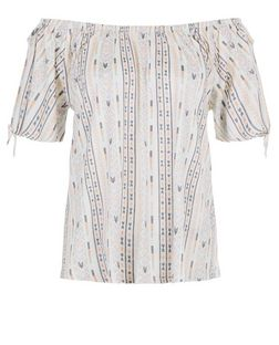 White Abstract Print Bardot Neck Gypsy Top  | New Look
