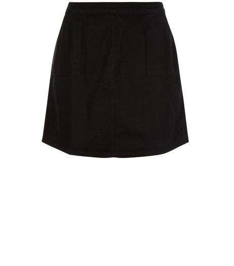 Curves Black A-Line Denim Skirt  | New Look