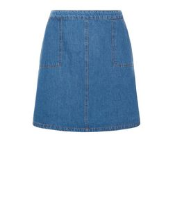 Curves Blue A-Line Denim Skirt  | New Look