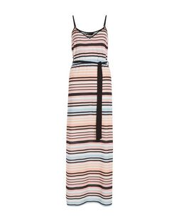 Pink Stripe Tie Waist Maxi Dress  | New Look