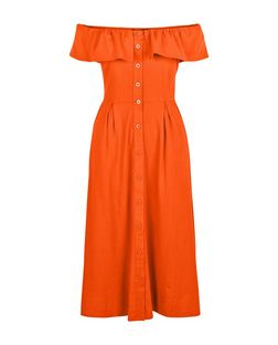 Orange Button Front Frill Bardot Neck Midi Dress  | New Look