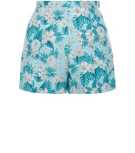 Teens Blue Tropical Print High Waisted Shorts | New Look