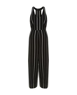 Black Stripe V Neck Wide Leg Jumpsuit  | New Look