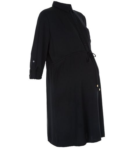 Maternity Black Tie Waist Shirt Dress | New Look