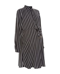 Maternity Black Stripe Tie Waist Shirt Dress | New Look